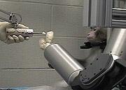 Обезьяна управляет автоматизированной рукой